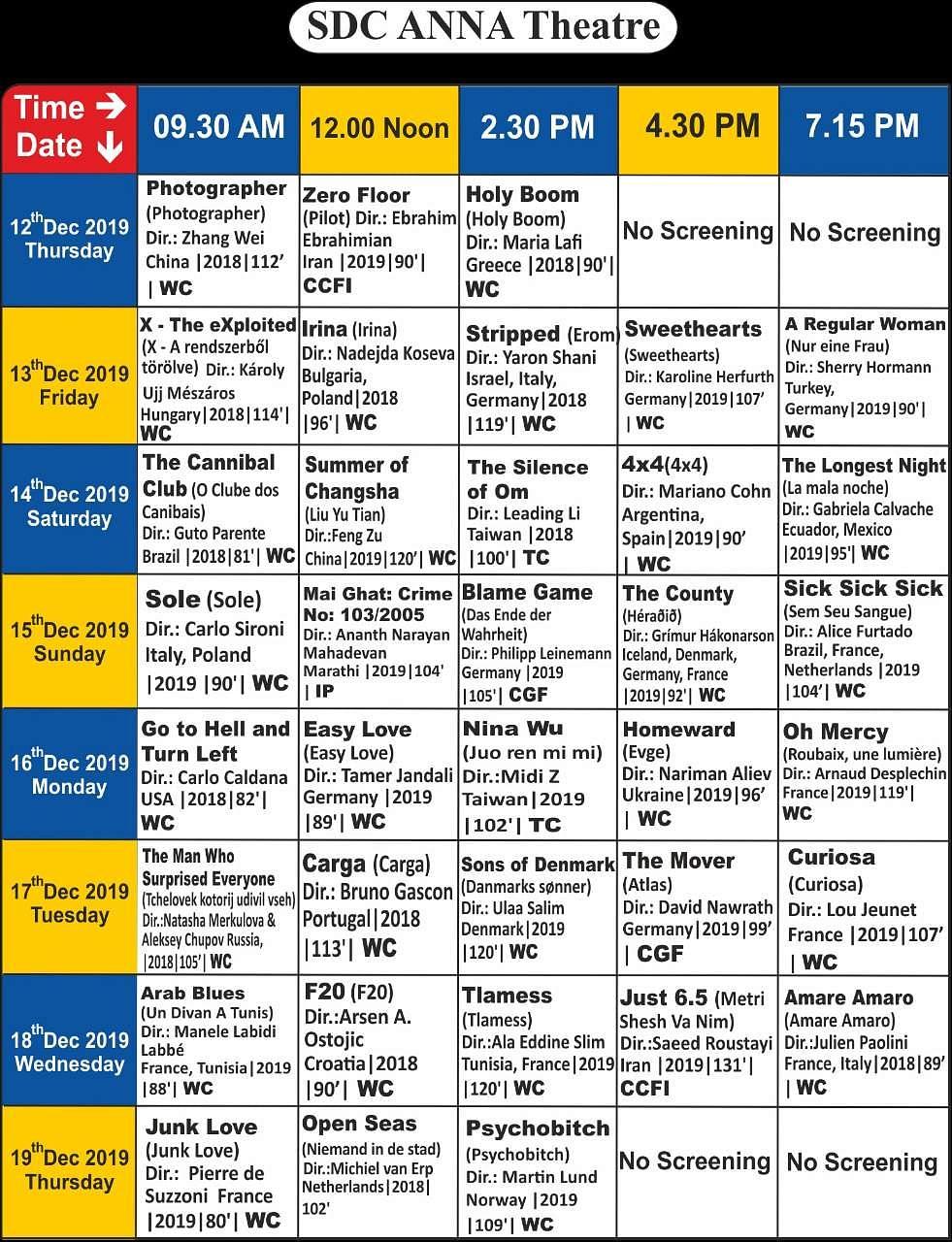 சென்னை சா்வதேச திரைப்பட விழாவில் திரையிடப்படும் படங்கள்: முழுப் பட்டியல்! Anna_Screening_Details_(5)