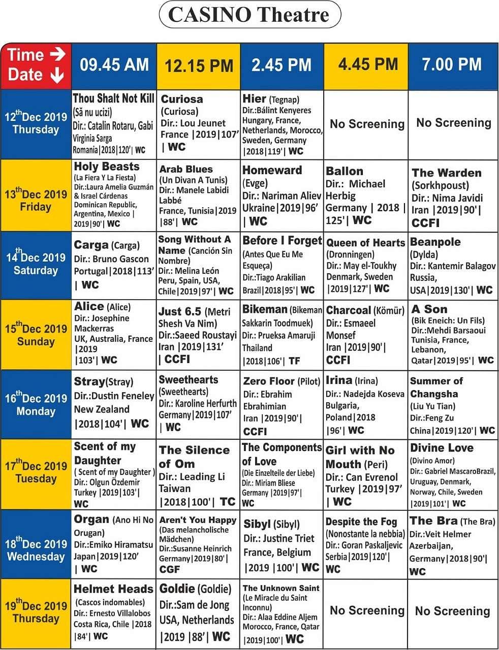 சென்னை சா்வதேச திரைப்பட விழாவில் திரையிடப்படும் படங்கள்: முழுப் பட்டியல்! Casino_Screening_Details_(1)
