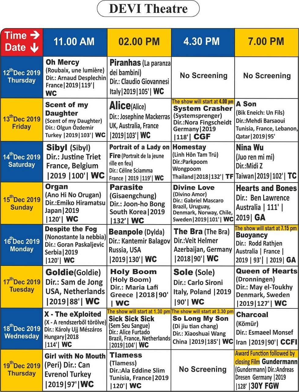 சென்னை சா்வதேச திரைப்பட விழாவில் திரையிடப்படும் படங்கள்: முழுப் பட்டியல்! Devi_Screening_Details_(6)