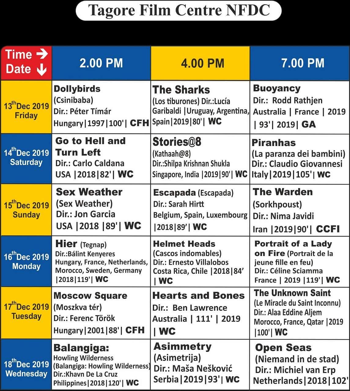 சென்னை சா்வதேச திரைப்பட விழாவில் திரையிடப்படும் படங்கள்: முழுப் பட்டியல்! Tagore_Screening_Details_(2)
