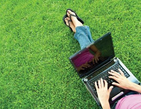 computer-on-grass