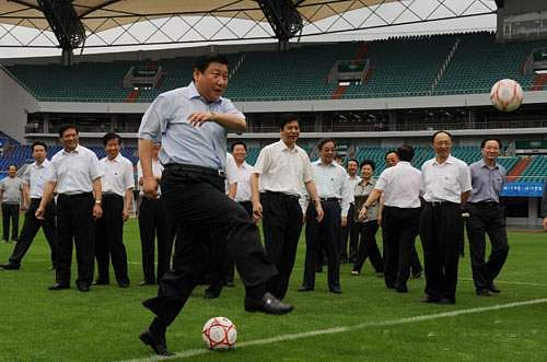 jinping playing soccer