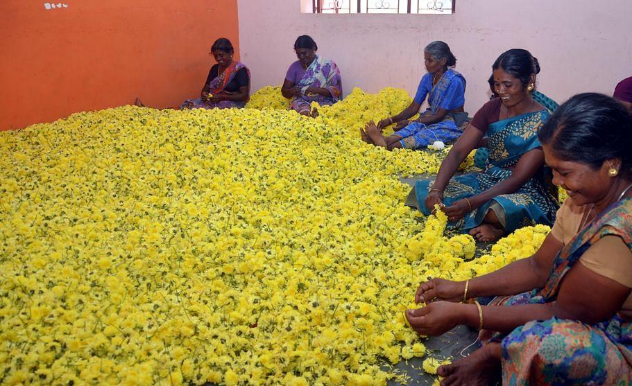 சம்பங்கி மாலை கட்டும் பணியில் ஈடுபட்டுள்ள பெண்கள்.