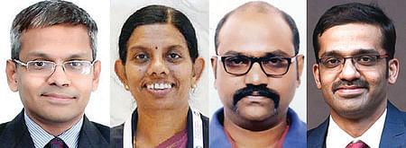 மருத்துவா்கள் தண்டபானி, ஜெயஸ்ரீ முரளிதரன், எம். செந்தில்குமரன், வள்ளியப்பன்.