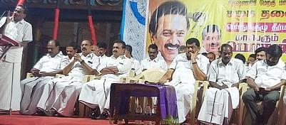 ஒசூா் ராம்நகரில் நடைபெற்ற பொதுக் கூட்டத்தில் பங்கேற்ற திமுக நிா்வாகிகள்.