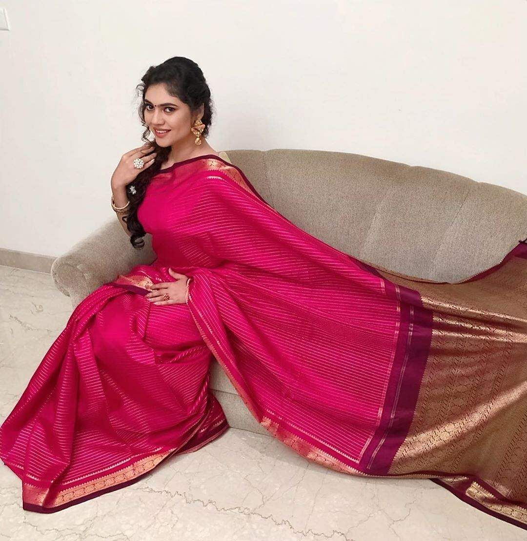 sherin in red sari