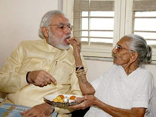 MODI WITH MOTHER