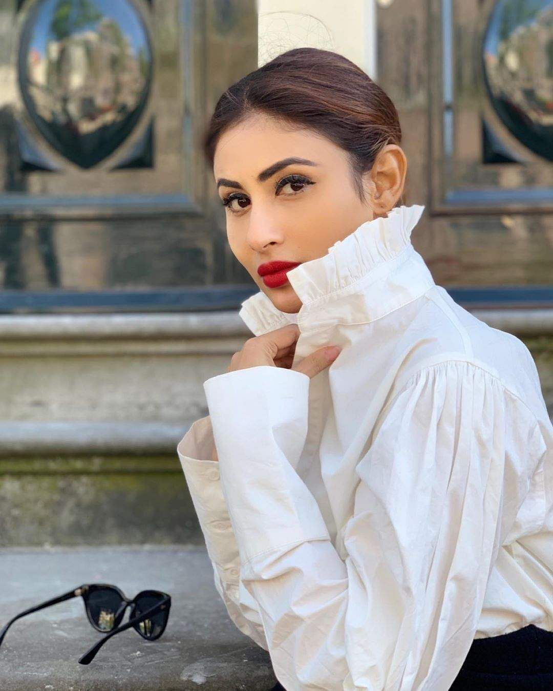 Mouni roys ethnic black and white western outfit