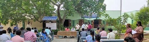 ஜோலாா்பேட்டை அரசு ஆண்கள் மேல்நிலைப் பள்ளியில் நடைபெற்ற கருத்துக் கேட்பு கூட்டம்.