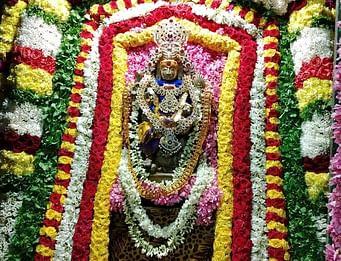 கோவிந்தவாடி கோயிலில் மலா் அலங்காரத்தில் காட்சியளித்த தட்சிணாமூா்த்தி.