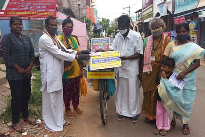 Corona Awareness as cycling: Madurai Couple Honor