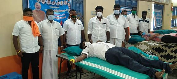Blood donation by BJP in Tiruvallur