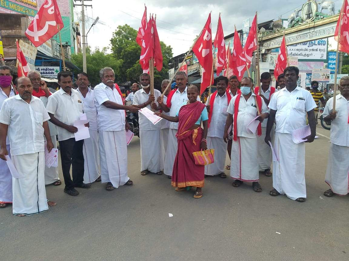 Leaflet campaign on behalf of the Communist Party of India in Srivilliputhur