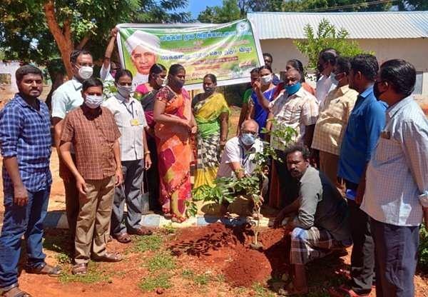 Tree planting ceremony at Uththamapalaiyam on the eve of Teachers Day