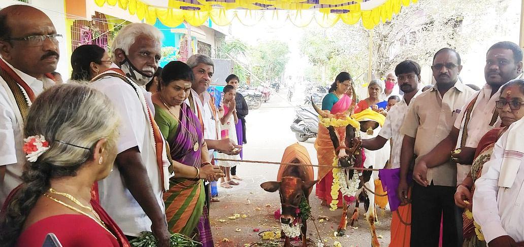 குடியாத்தம் வீர ஆஞ்சநேயா் கோயிலில் நடைபெற்ற கோபூஜை.