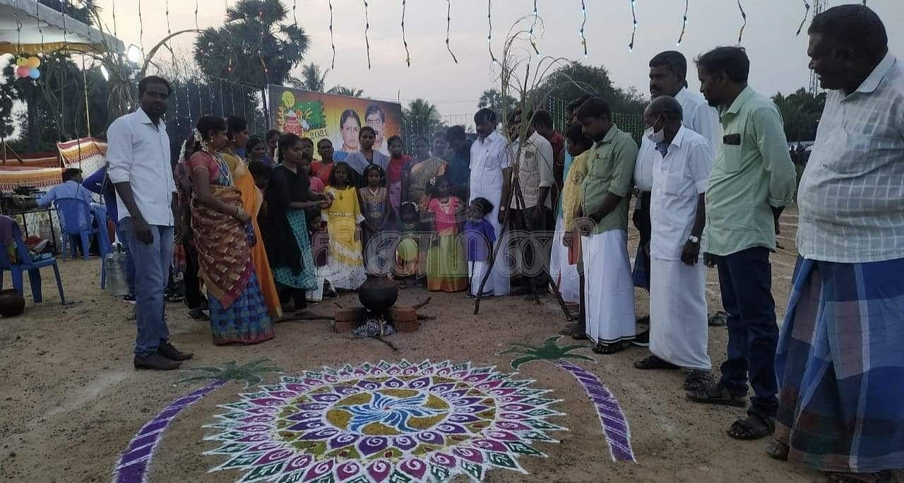 Equality Pongal festival in Vaipur panchayat in front of the viewing Bengal